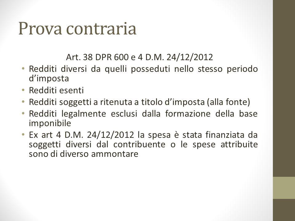 Prova contraria Art. 38 DPR 600 e 4 D.M. 24/12/2012 Redditi diversi da quelli posseduti nello stesso periodo d'imposta Redditi esenti Redditi soggetti