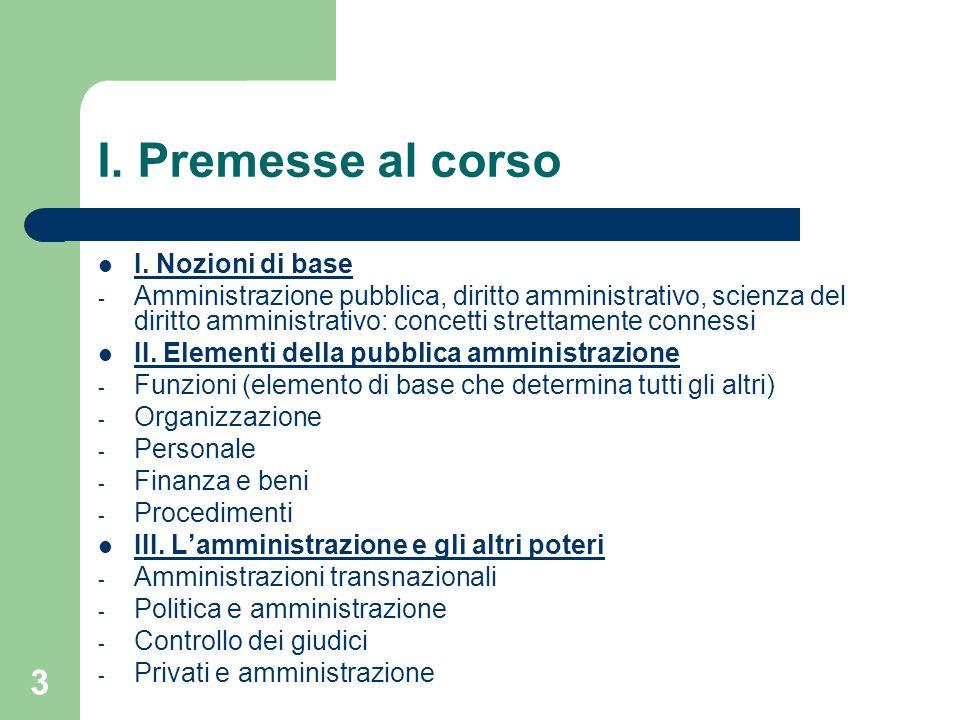 3 I. Premesse al corso I. Nozioni di base - Amministrazione pubblica, diritto amministrativo, scienza del diritto amministrativo: concetti strettament