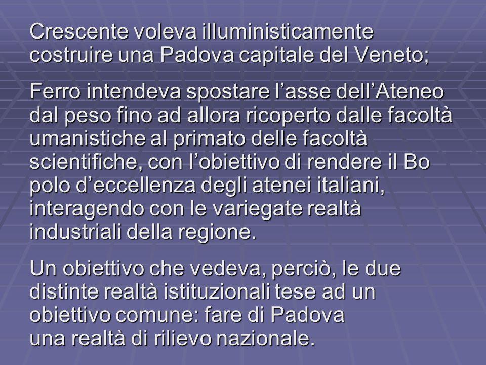 Crescente voleva illuministicamente costruire una Padova capitale del Veneto; Ferro intendeva spostare l'asse dell'Ateneo dal peso fino ad allora rico