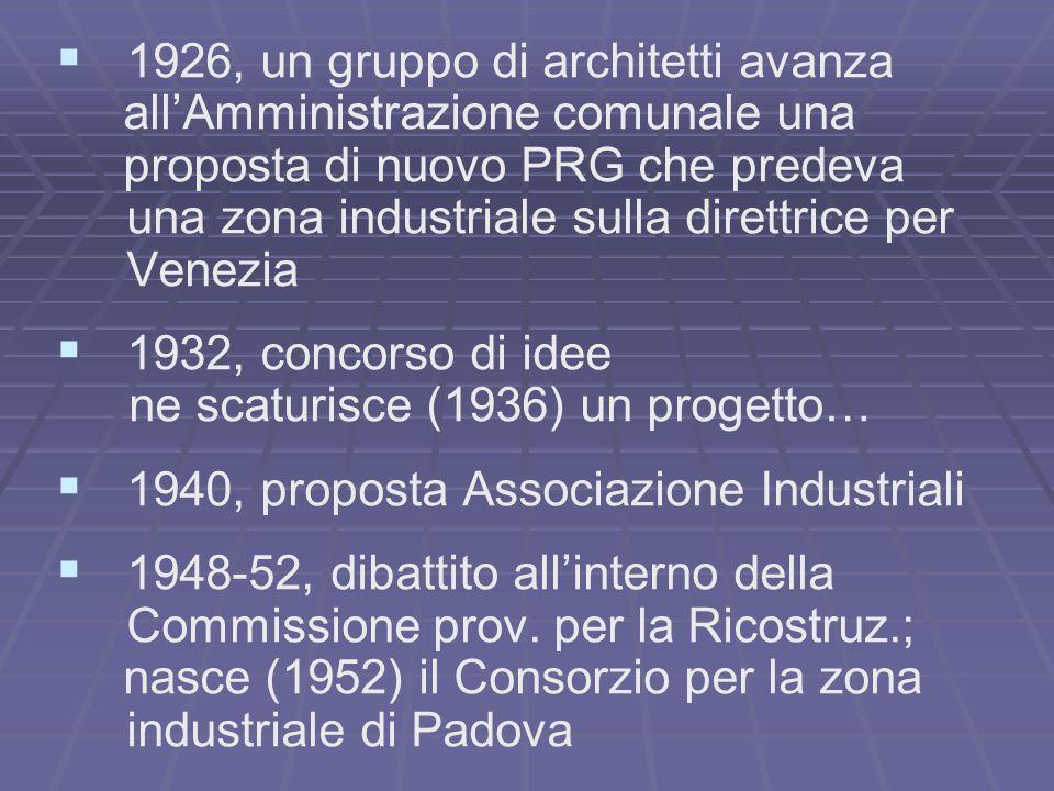   1926, un gruppo di architetti avanza all'Amministrazione comunale una proposta di nuovo PRG che predeva una zona industriale sulla direttrice per Venezia   1932, concorso di idee ne scaturisce (1936) un progetto…   1940, proposta Associazione Industriali   1948-52, dibattito all'interno della Commissione prov.