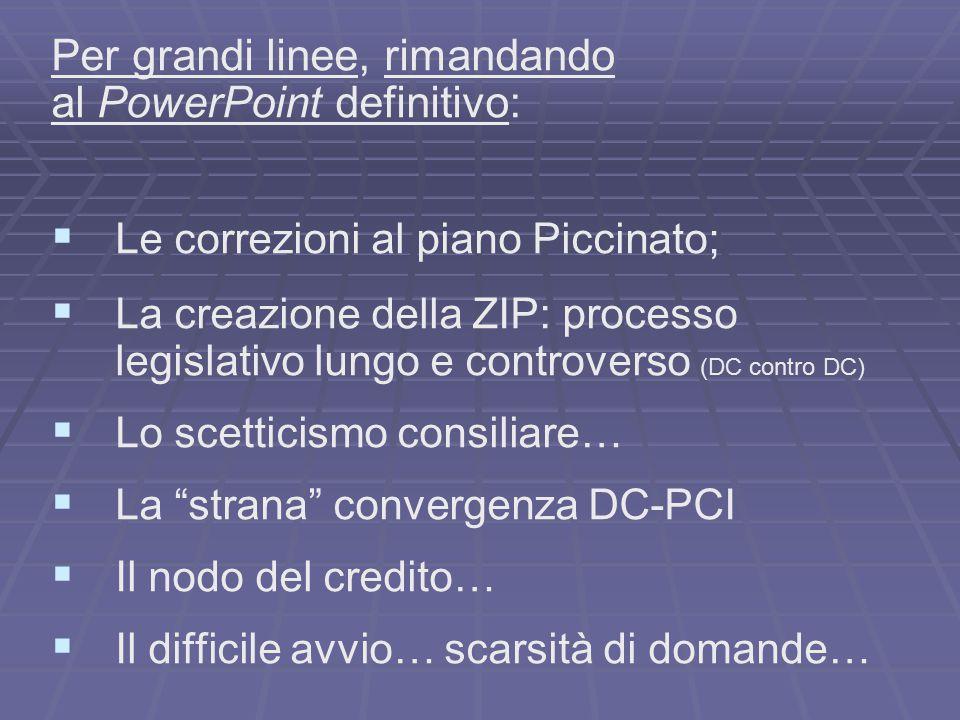 Per grandi linee, rimandando al PowerPoint definitivo:   Le correzioni al piano Piccinato;   La creazione della ZIP: processo legislativo lungo e