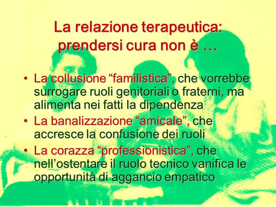 La relazione terapeutica: prendersi cura non è … La collusione familistica , che vorrebbe surrogare ruoli genitoriali o fraterni, ma alimenta nei fatti la dipendenzaLa collusione familistica , che vorrebbe surrogare ruoli genitoriali o fraterni, ma alimenta nei fatti la dipendenza La banalizzazione amicale , che accresce la confusione dei ruoliLa banalizzazione amicale , che accresce la confusione dei ruoli La corazza professionistica , che nell'ostentare il ruolo tecnico vanifica le opportunità di aggancio empaticoLa corazza professionistica , che nell'ostentare il ruolo tecnico vanifica le opportunità di aggancio empatico