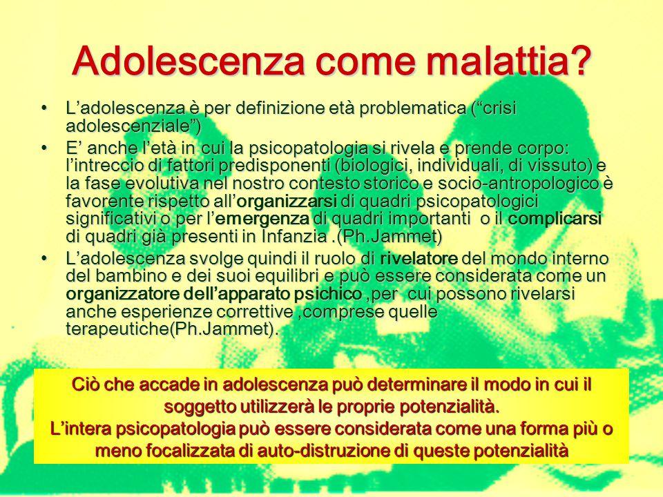 Psicopatologia in adolescenza In tutti questi disturbi specifica in adolescenza è la predominanza del vissuto sul pensato : la sofferenza psichica si manifesta attraverso il corpo e gli agiti Esordio schizofrenico / psicotico Evoluzioni di psicosi infantile Disturbi dell'umore Disturbi di personalità Disturbi della condotta e degli impulsi Disturbi del comportamento alimentare Disturbi d'ansia e di panico Patologia di innesto su quadri deficitari o funzionamento limite