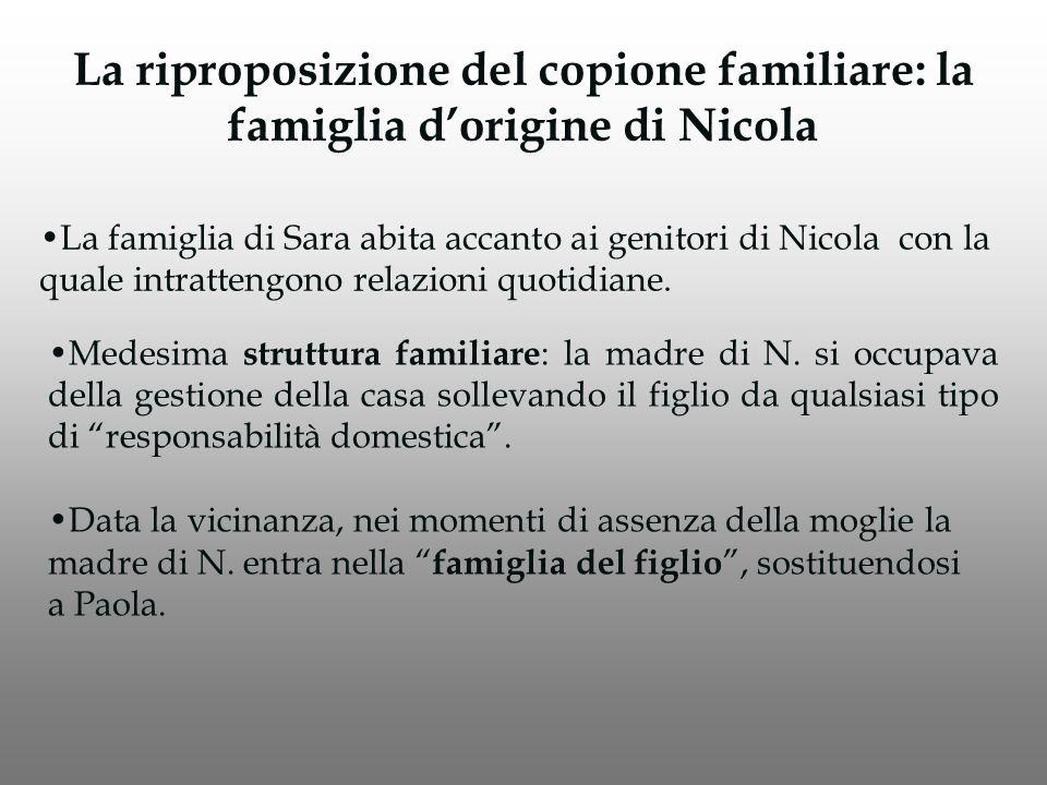La riproposizione del copione familiare: la famiglia d'origine di Nicola La famiglia di Sara abita accanto ai genitori di Nicola con la quale intrattengono relazioni quotidiane.