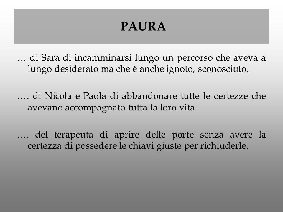 PAURA … di Sara di incamminarsi lungo un percorso che aveva a lungo desiderato ma che è anche ignoto, sconosciuto.