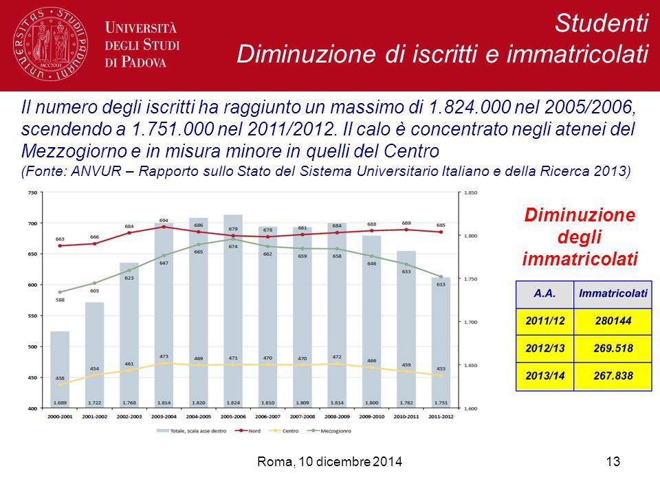 Studenti Diminuzione di iscritti e immatricolati 13Roma, 10 dicembre 2014 Il numero degli iscritti ha raggiunto un massimo di 1.824.000 nel 2005/2006, scendendo a 1.751.000 nel 2011/2012.