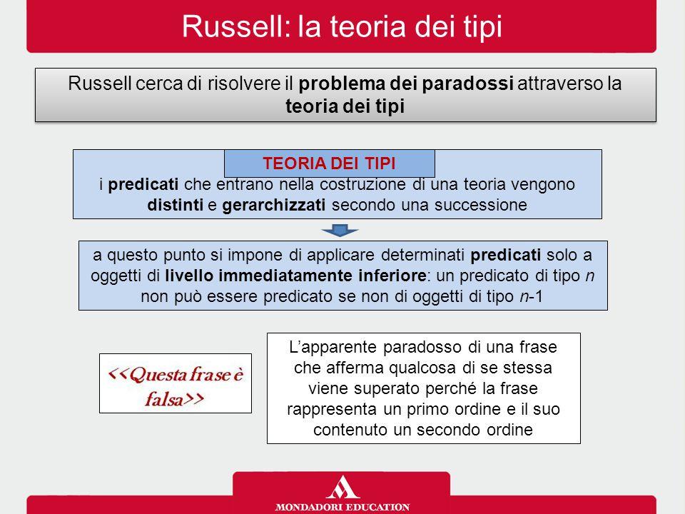 Russell: la teoria dei tipi Russell cerca di risolvere il problema dei paradossi attraverso la teoria dei tipi i predicati che entrano nella costruzione di una teoria vengono distinti e gerarchizzati secondo una successione TEORIA DEI TIPI a questo punto si impone di applicare determinati predicati solo a oggetti di livello immediatamente inferiore: un predicato di tipo n non può essere predicato se non di oggetti di tipo n-1 L'apparente paradosso di una frase che afferma qualcosa di se stessa viene superato perché la frase rappresenta un primo ordine e il suo contenuto un secondo ordine