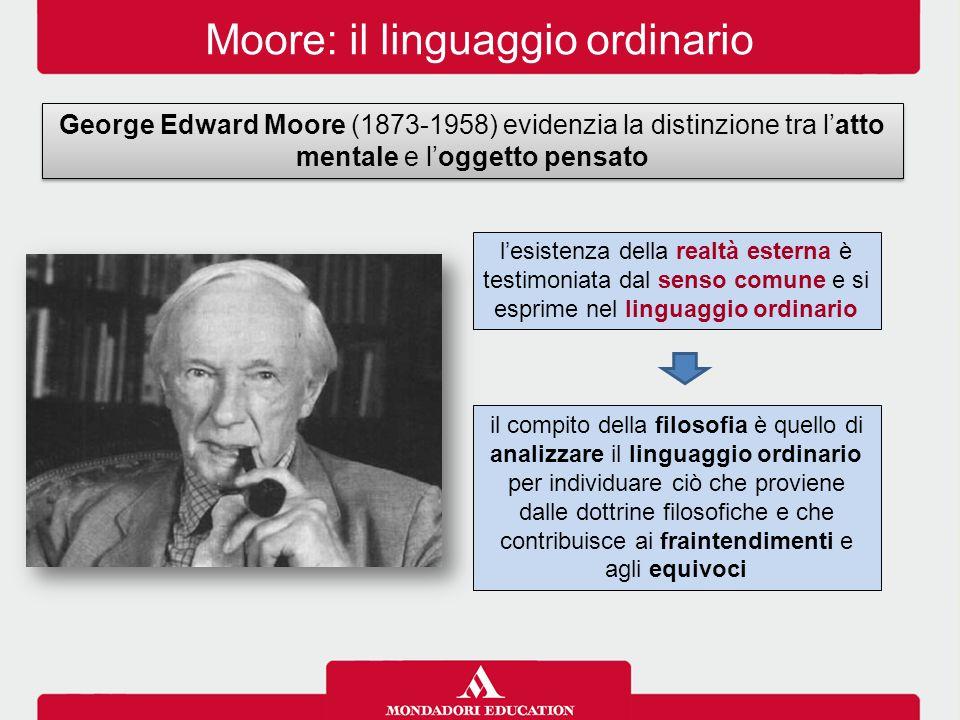 Moore: il linguaggio ordinario George Edward Moore (1873-1958) evidenzia la distinzione tra l'atto mentale e l'oggetto pensato il compito della filosofia è quello di analizzare il linguaggio ordinario per individuare ciò che proviene dalle dottrine filosofiche e che contribuisce ai fraintendimenti e agli equivoci l'esistenza della realtà esterna è testimoniata dal senso comune e si esprime nel linguaggio ordinario