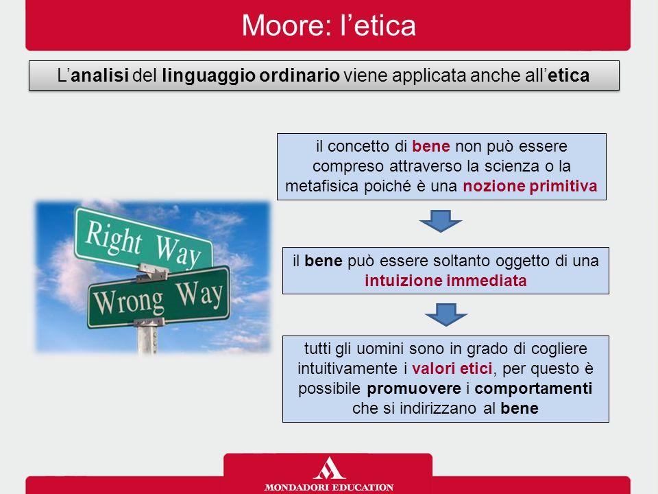 Moore: l'etica L'analisi del linguaggio ordinario viene applicata anche all'etica il bene può essere soltanto oggetto di una intuizione immediata il c