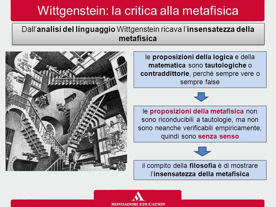 Wittgenstein: la critica alla metafisica Dall'analisi del linguaggio Wittgenstein ricava l'insensatezza della metafisica le proposizioni della logica e della matematica sono tautologiche o contraddittorie, perché sempre vere o sempre false le proposizioni della metafisica non sono riconducibili a tautologie, ma non sono neanche verificabili empiricamente, quindi sono senza senso il compito della filosofia è di mostrare l'insensatezza della metafisica