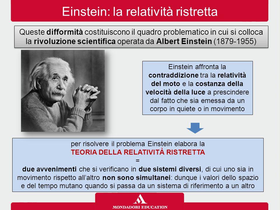 Einstein: la relatività ristretta Queste difformità costituiscono il quadro problematico in cui si colloca la rivoluzione scientifica operata da Albert Einstein (1879-1955) Einstein affronta la contraddizione tra la relatività del moto e la costanza della velocità della luce a prescindere dal fatto che sia emessa da un corpo in quiete o in movimento per risolvere il problema Einstein elabora la TEORIA DELLA RELATIVITÀ RISTRETTA = due avvenimenti che si verificano in due sistemi diversi, di cui uno sia in movimento rispetto all'altro non sono simultanei: dunque i valori dello spazio e del tempo mutano quando si passa da un sistema di riferimento a un altro