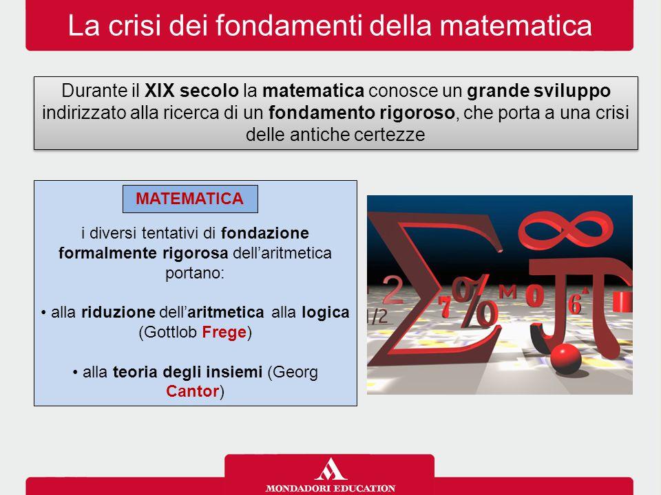 La crisi dei fondamenti della matematica Durante il XIX secolo la matematica conosce un grande sviluppo indirizzato alla ricerca di un fondamento rigoroso, che porta a una crisi delle antiche certezze i diversi tentativi di fondazione formalmente rigorosa dell'aritmetica portano: alla riduzione dell'aritmetica alla logica (Gottlob Frege) alla teoria degli insiemi (Georg Cantor) MATEMATICA