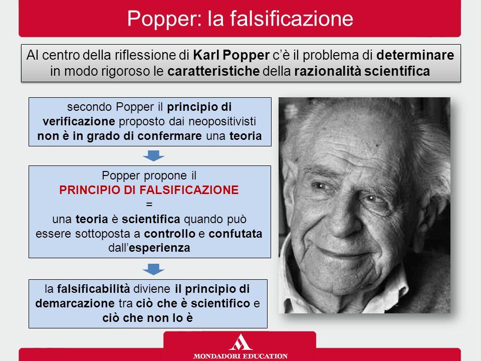 Popper: la falsificazione Al centro della riflessione di Karl Popper c'è il problema di determinare in modo rigoroso le caratteristiche della razionalità scientifica secondo Popper il principio di verificazione proposto dai neopositivisti non è in grado di confermare una teoria Popper propone il PRINCIPIO DI FALSIFICAZIONE = una teoria è scientifica quando può essere sottoposta a controllo e confutata dall'esperienza la falsificabilità diviene il principio di demarcazione tra ciò che è scientifico e ciò che non lo è
