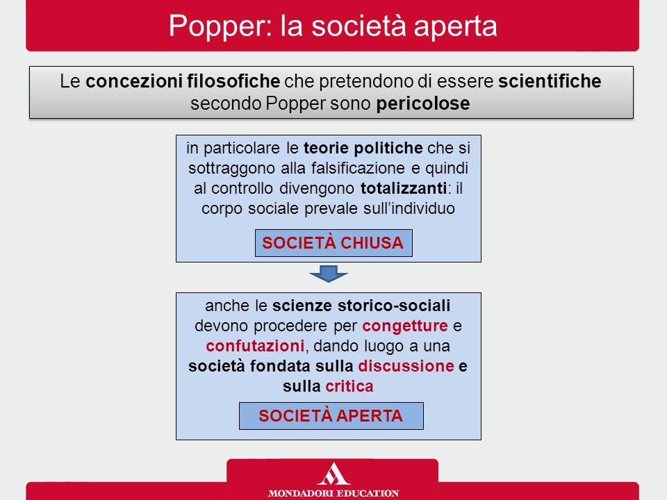Popper: la società aperta Le concezioni filosofiche che pretendono di essere scientifiche secondo Popper sono pericolose in particolare le teorie poli