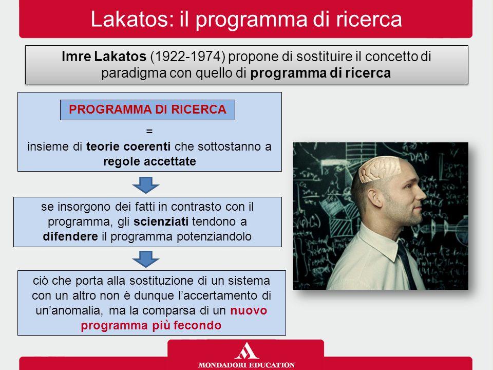 Lakatos: il programma di ricerca Imre Lakatos (1922-1974) propone di sostituire il concetto di paradigma con quello di programma di ricerca = insieme di teorie coerenti che sottostanno a regole accettate PROGRAMMA DI RICERCA se insorgono dei fatti in contrasto con il programma, gli scienziati tendono a difendere il programma potenziandolo ciò che porta alla sostituzione di un sistema con un altro non è dunque l'accertamento di un'anomalia, ma la comparsa di un nuovo programma più fecondo