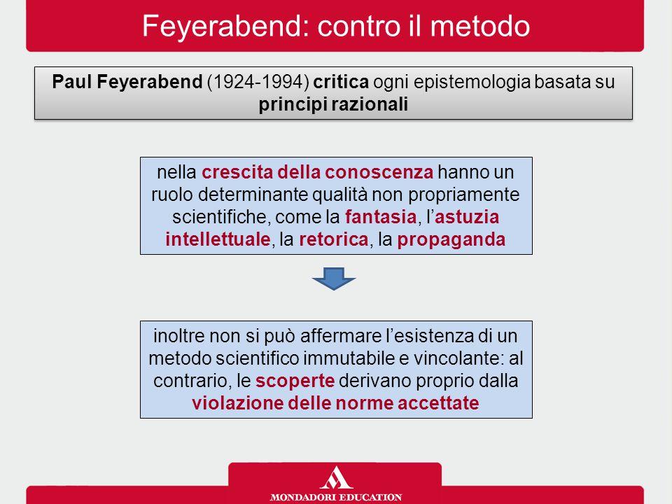 Feyerabend: contro il metodo Paul Feyerabend (1924-1994) critica ogni epistemologia basata su principi razionali nella crescita della conoscenza hanno
