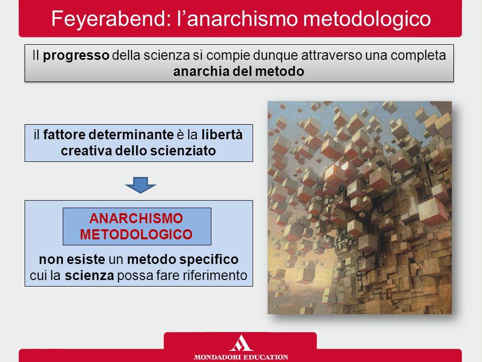 Feyerabend: l'anarchismo metodologico Il progresso della scienza si compie dunque attraverso una completa anarchia del metodo = non esiste un metodo specifico cui la scienza possa fare riferimento ANARCHISMO METODOLOGICO il fattore determinante è la libertà creativa dello scienziato