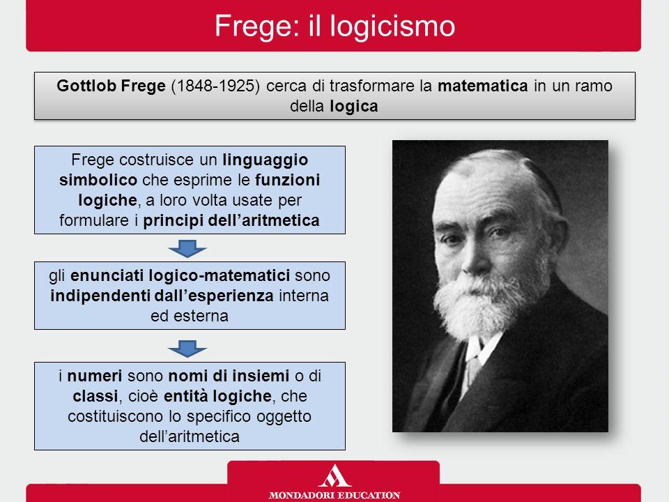 Frege: il logicismo Gottlob Frege (1848-1925) cerca di trasformare la matematica in un ramo della logica gli enunciati logico-matematici sono indipendenti dall'esperienza interna ed esterna i numeri sono nomi di insiemi o di classi, cioè entità logiche, che costituiscono lo specifico oggetto dell'aritmetica Frege costruisce un linguaggio simbolico che esprime le funzioni logiche, a loro volta usate per formulare i principi dell'aritmetica