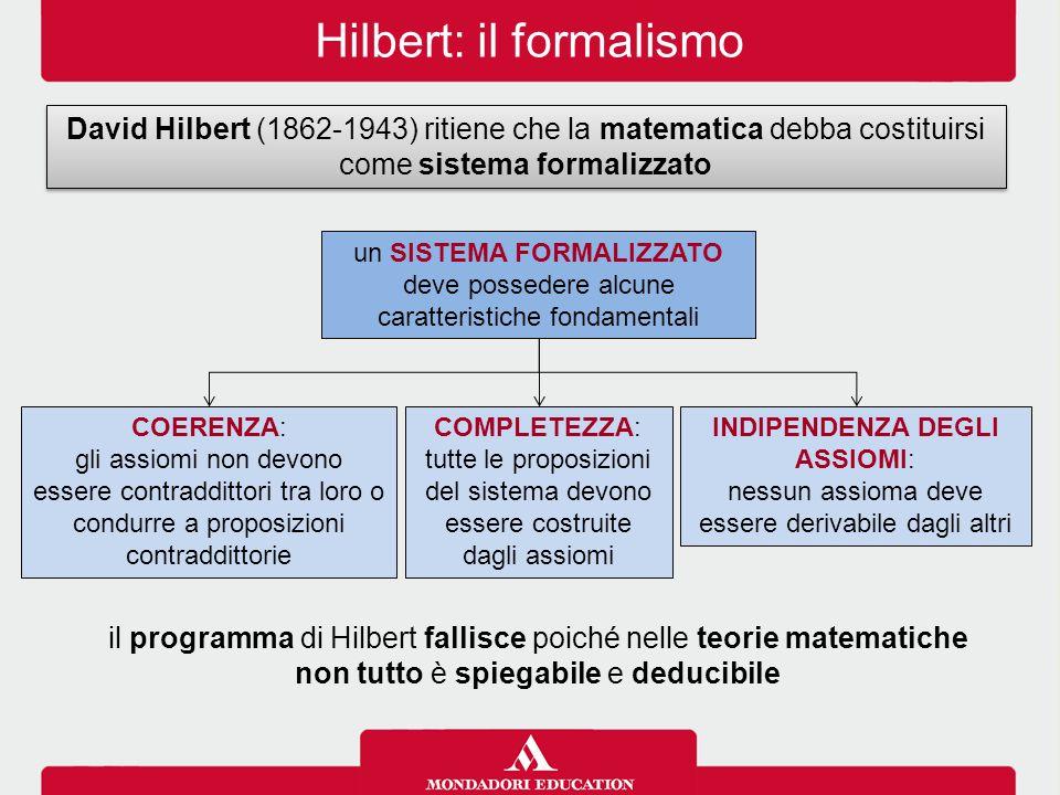Hilbert: il formalismo David Hilbert (1862-1943) ritiene che la matematica debba costituirsi come sistema formalizzato il programma di Hilbert fallisce poiché nelle teorie matematiche non tutto è spiegabile e deducibile un SISTEMA FORMALIZZATO deve possedere alcune caratteristiche fondamentali COERENZA: gli assiomi non devono essere contraddittori tra loro o condurre a proposizioni contraddittorie INDIPENDENZA DEGLI ASSIOMI: nessun assioma deve essere derivabile dagli altri COMPLETEZZA: tutte le proposizioni del sistema devono essere costruite dagli assiomi