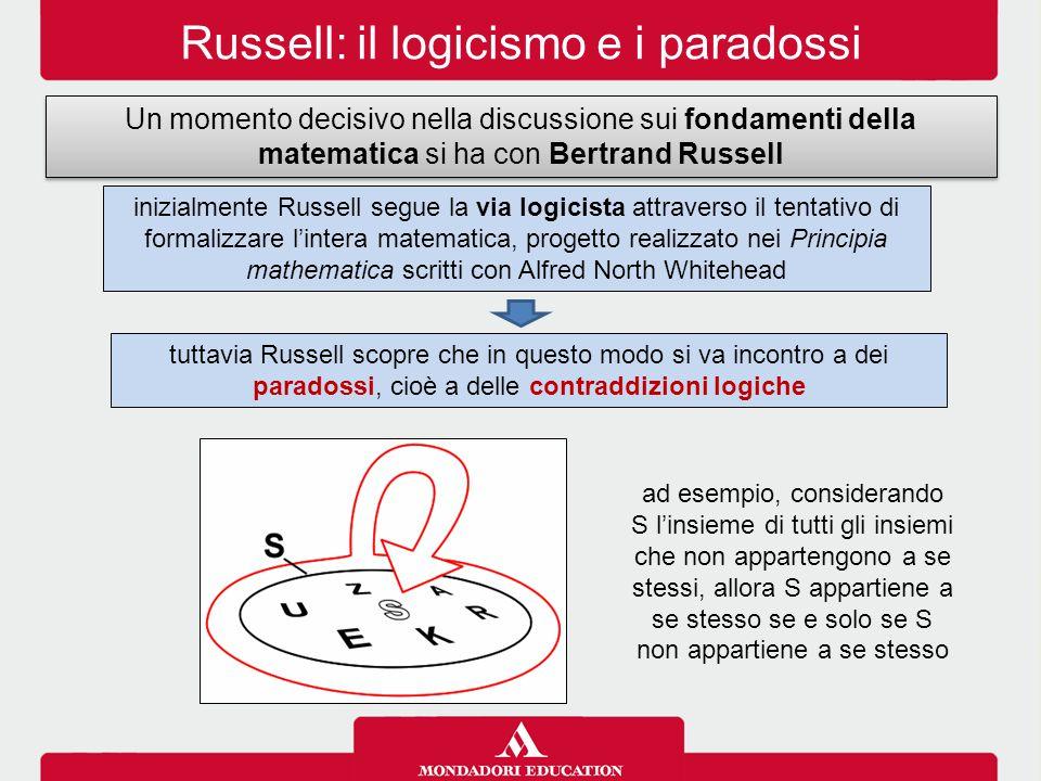 Russell: il logicismo e i paradossi Un momento decisivo nella discussione sui fondamenti della matematica si ha con Bertrand Russell inizialmente Russ