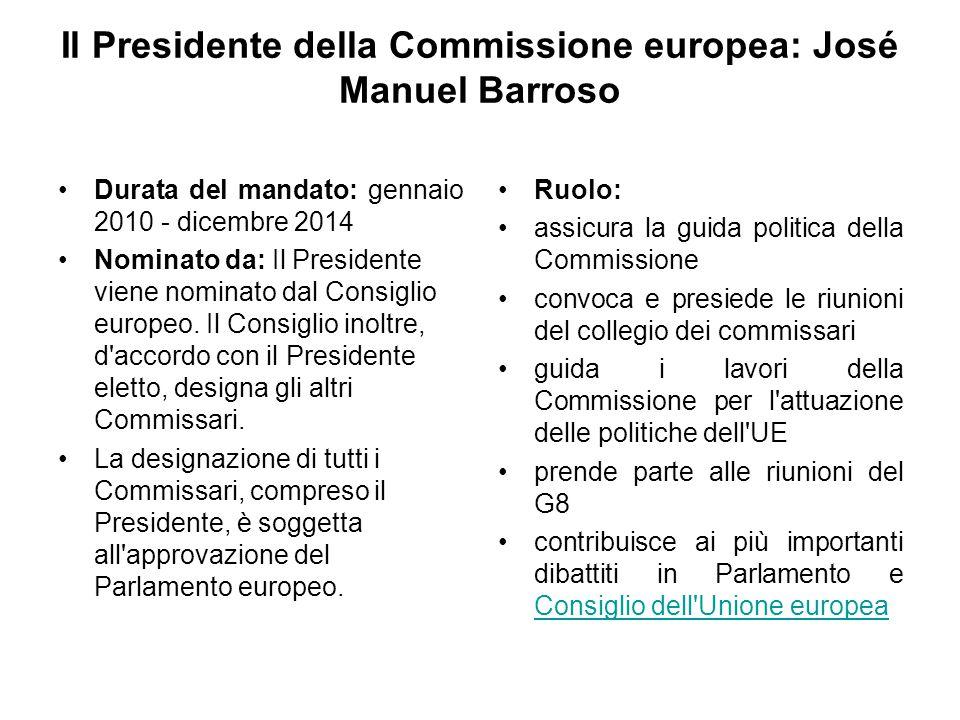 Il Presidente della Commissione europea: José Manuel Barroso Durata del mandato: gennaio 2010 - dicembre 2014 Nominato da: Il Presidente viene nominat