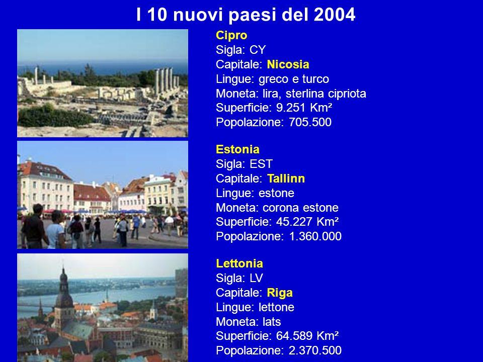 I 10 nuovi paesi del 2004 Cipro Sigla: CY Capitale: Nicosia Lingue: greco e turco Moneta: lira, sterlina cipriota Superficie: 9.251 Km² Popolazione: 7