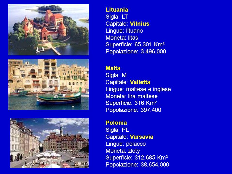 Lituania Sigla: LT Capitale: Vilnius Lingue: lituano Moneta: litas Superficie: 65.301 Km² Popolazione: 3.496.000 Malta Sigla: M Capitale: Valletta Lin