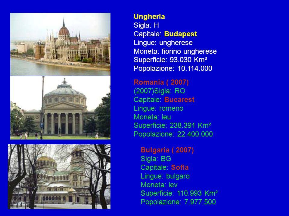 Ungheria Sigla: H Capitale: Budapest Lingue: ungherese Moneta: fiorino ungherese Superficie: 93.030 Km² Popolazione: 10.114.000 Bulgaria ( 2007) Sigla