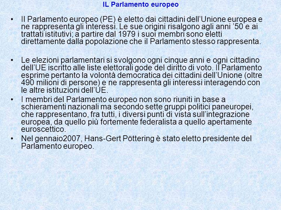 IL Parlamento europeo Il Parlamento europeo (PE) è eletto dai cittadini dell'Unione europea e ne rappresenta gli interessi. Le sue origini risalgono a