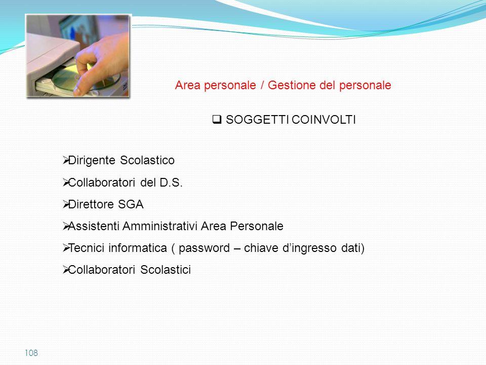 108  SOGGETTI COINVOLTI  Dirigente Scolastico  Collaboratori del D.S.  Direttore SGA  Assistenti Amministrativi Area Personale  Tecnici informat