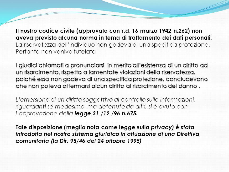 Il nostro codice civile (approvato con r.d. 16 marzo 1942 n.262) non aveva previsto alcuna norma in tema di trattamento dei dati personali. La riserva