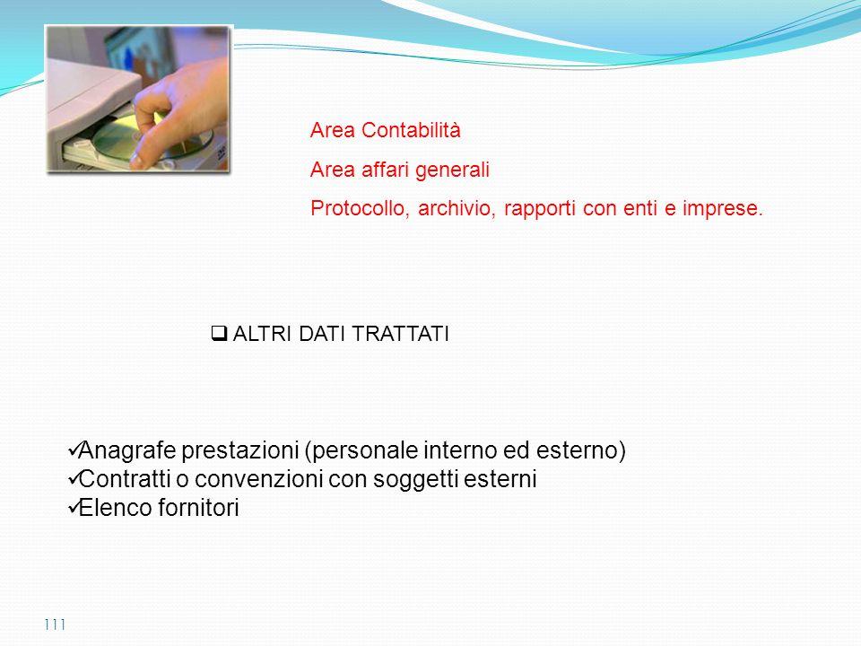 111  ALTRI DATI TRATTATI Area Contabilità Area affari generali Protocollo, archivio, rapporti con enti e imprese. Anagrafe prestazioni (personale int