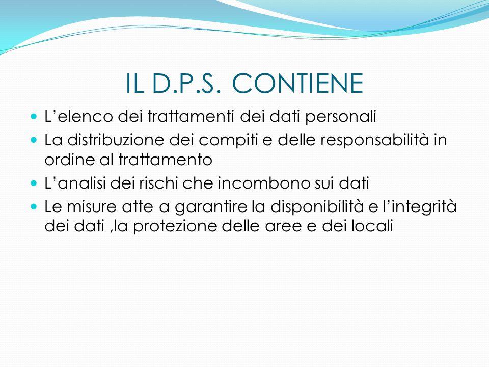 IL D.P.S. CONTIENE L'elenco dei trattamenti dei dati personali La distribuzione dei compiti e delle responsabilità in ordine al trattamento L'analisi