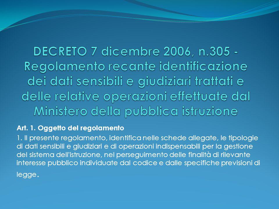 Art. 1. Oggetto del regolamento 1. Il presente regolamento, identifica nelle schede allegate, le tipologie di dati sensibili e giudiziari e di operazi