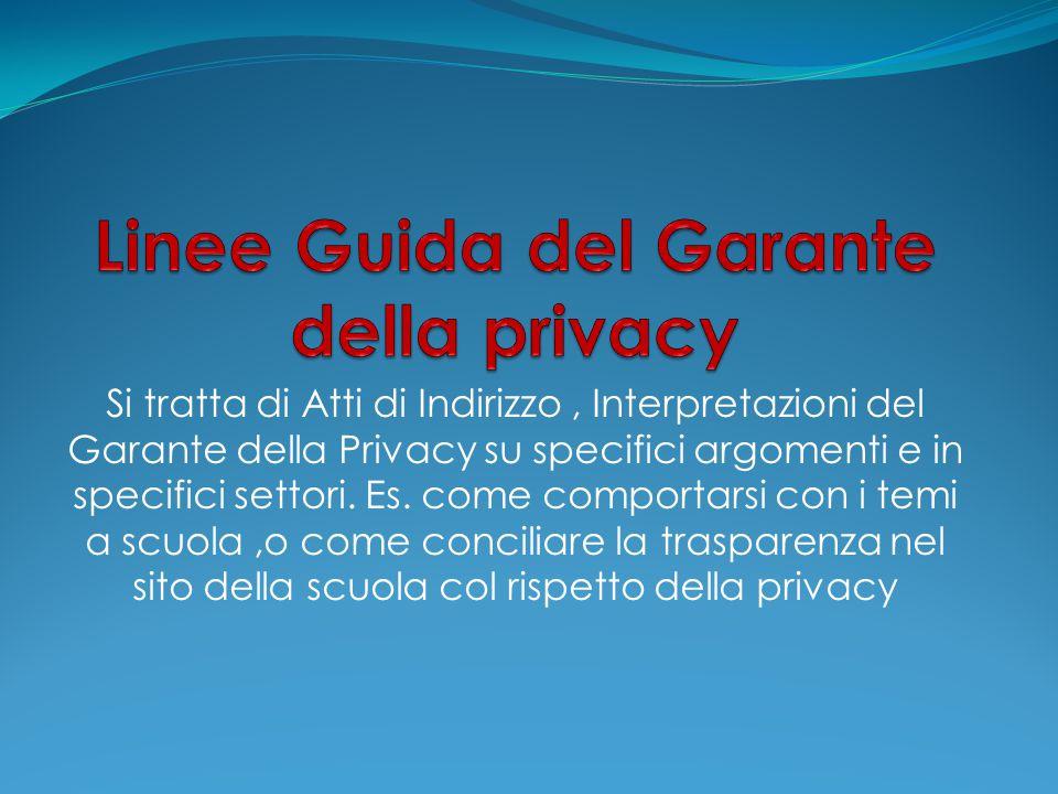 Si tratta di Atti di Indirizzo, Interpretazioni del Garante della Privacy su specifici argomenti e in specifici settori. Es. come comportarsi con i te
