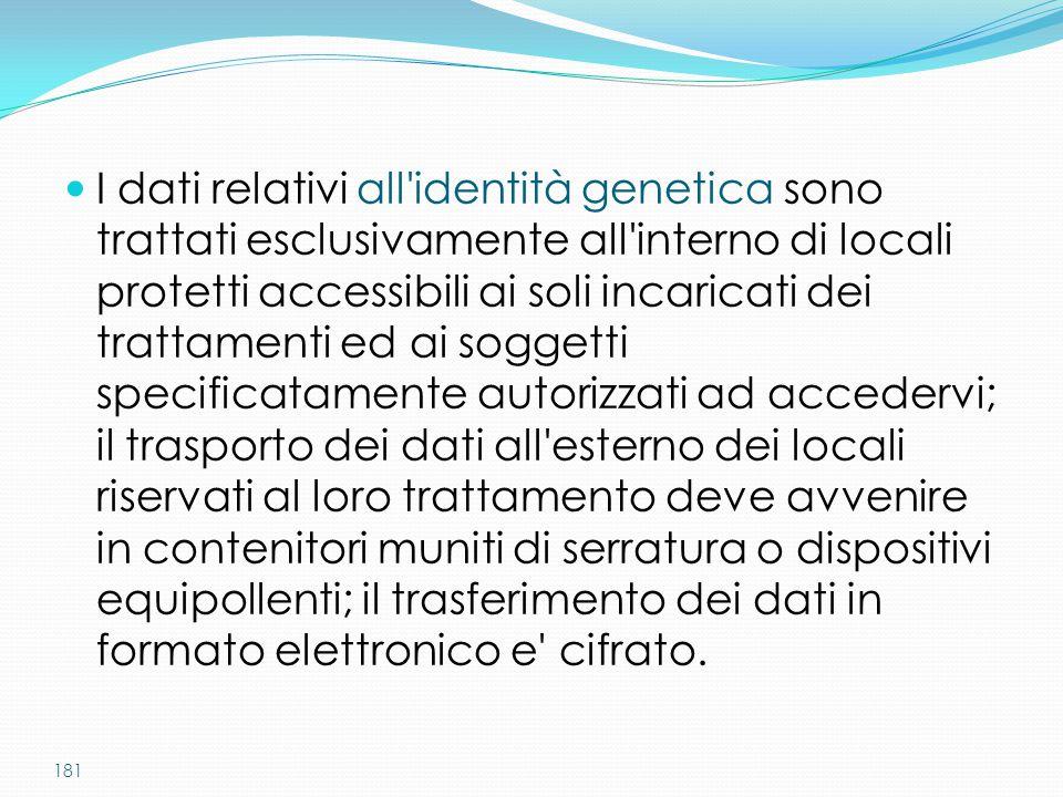 181 I dati relativi all'identità genetica sono trattati esclusivamente all'interno di locali protetti accessibili ai soli incaricati dei trattamenti e