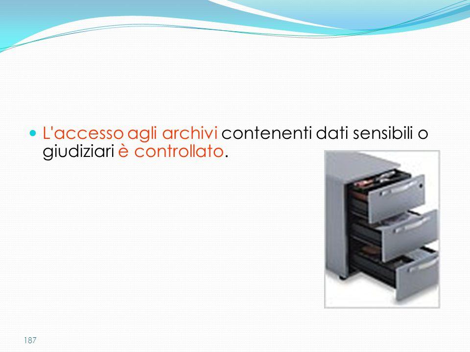 187 L'accesso agli archivi contenenti dati sensibili o giudiziari è controllato.