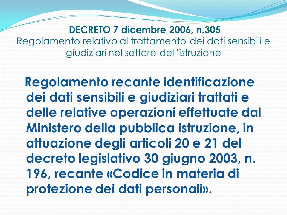DECRETO 7 dicembre 2006, n.305 Regolamento relativo al trattamento dei dati sensibili e giudiziari nel settore dell'istruzione Regolamento recante ide