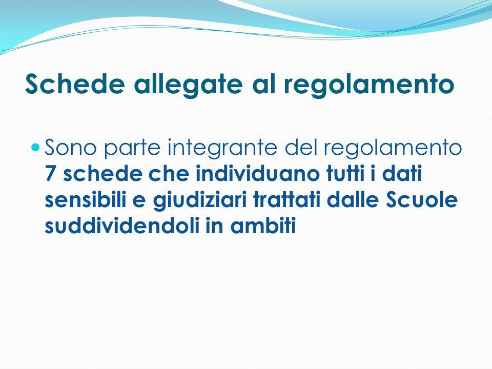 Schede allegate al regolamento Sono parte integrante del regolamento 7 schede che individuano tutti i dati sensibili e giudiziari trattati dalle Scuol