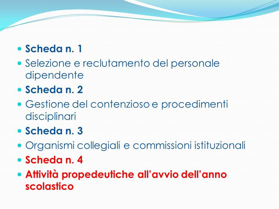 Scheda n. 1 Selezione e reclutamento del personale dipendente Scheda n. 2 Gestione del contenzioso e procedimenti disciplinari Scheda n. 3 Organismi c