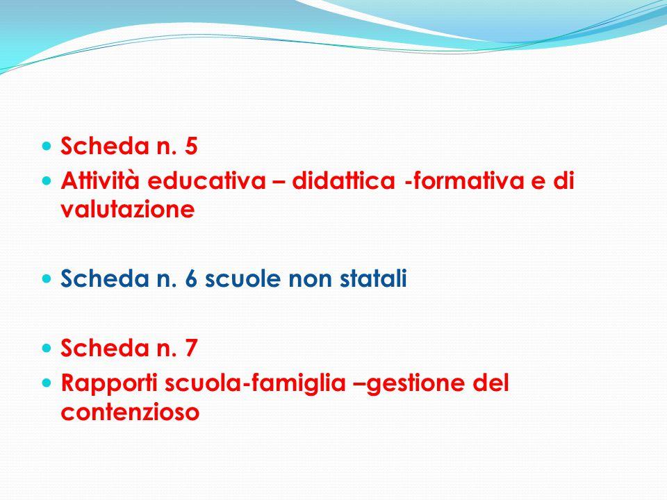 Scheda n. 5 Attività educativa – didattica -formativa e di valutazione Scheda n. 6 scuole non statali Scheda n. 7 Rapporti scuola-famiglia –gestione d