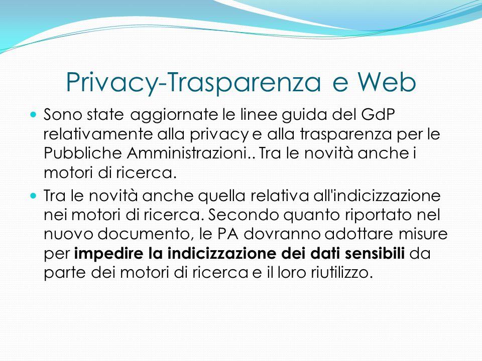 Privacy-Trasparenza e Web Sono state aggiornate le linee guida del GdP relativamente alla privacy e alla trasparenza per le Pubbliche Amministrazioni.