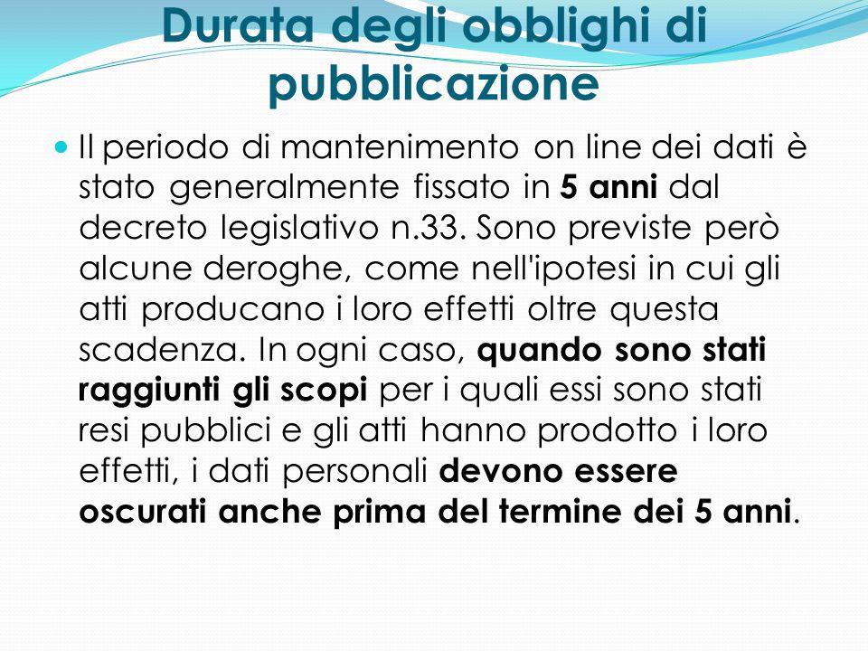 Durata degli obblighi di pubblicazione Il periodo di mantenimento on line dei dati è stato generalmente fissato in 5 anni dal decreto legislativo n.33
