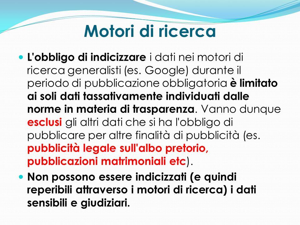 Motori di ricerca L'obbligo di indicizzare i dati nei motori di ricerca generalisti (es. Google) durante il periodo di pubblicazione obbligatoria è li