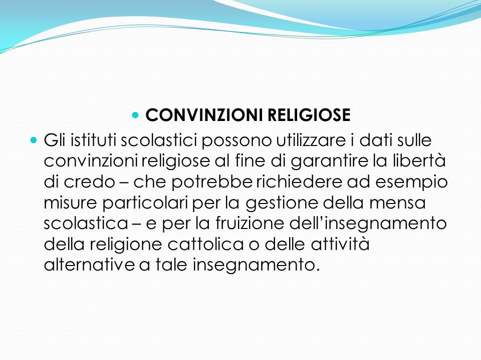 CONVINZIONI RELIGIOSE Gli istituti scolastici possono utilizzare i dati sulle convinzioni religiose al fine di garantire la libertà di credo – che pot