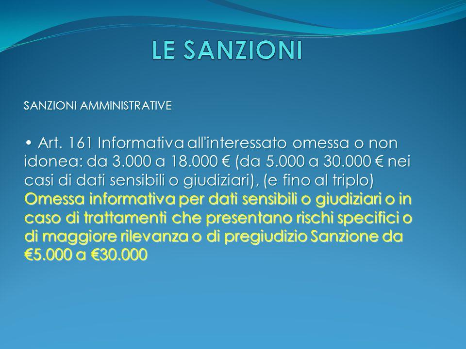 SANZIONI AMMINISTRATIVE Art. 161 Informativa all'interessato omessa o non idonea: da 3.000 a 18.000 € (da 5.000 a 30.000 € nei casi di dati sensibili