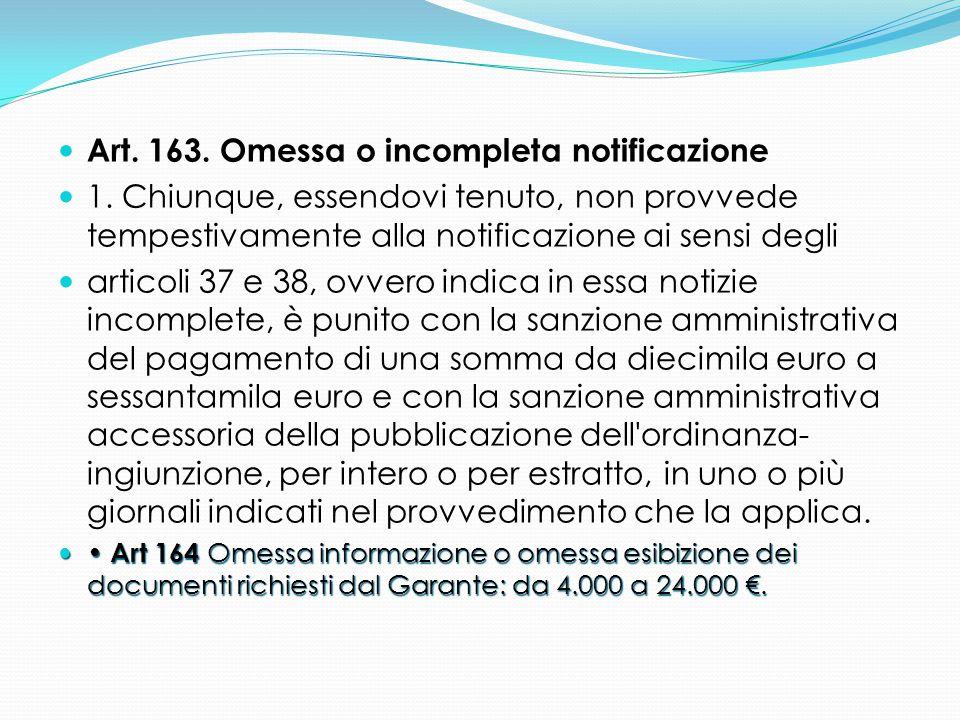 Art. 163. Omessa o incompleta notificazione 1. Chiunque, essendovi tenuto, non provvede tempestivamente alla notificazione ai sensi degli articoli 37