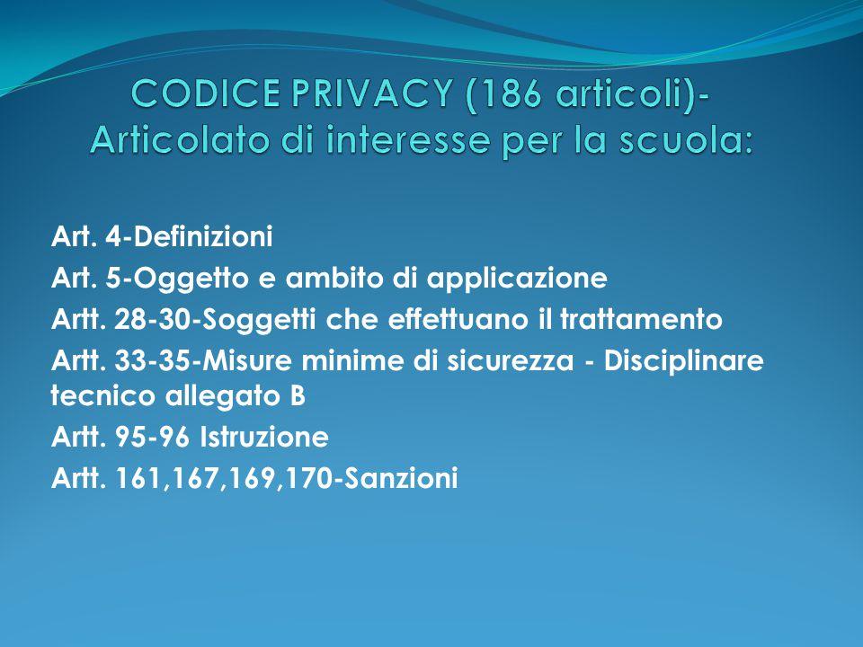 Art. 4-Definizioni Art. 5-Oggetto e ambito di applicazione Artt. 28-30-Soggetti che effettuano il trattamento Artt. 33-35-Misure minime di sicurezza -
