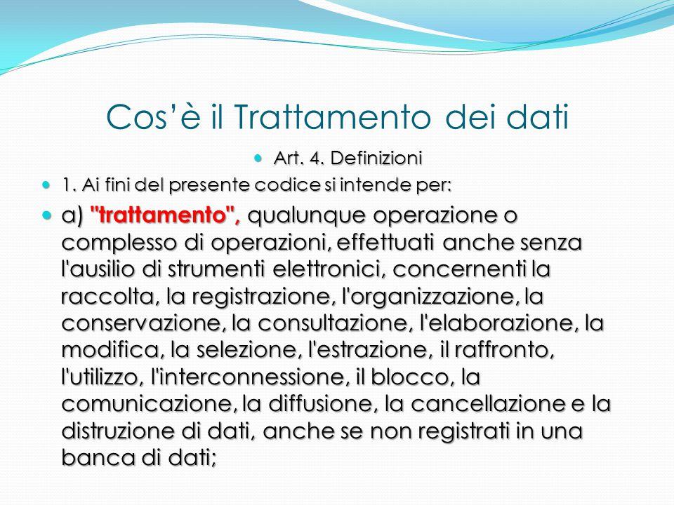 Cos'è il Trattamento dei dati Art. 4. Definizioni Art. 4. Definizioni 1. Ai fini del presente codice si intende per: 1. Ai fini del presente codice si