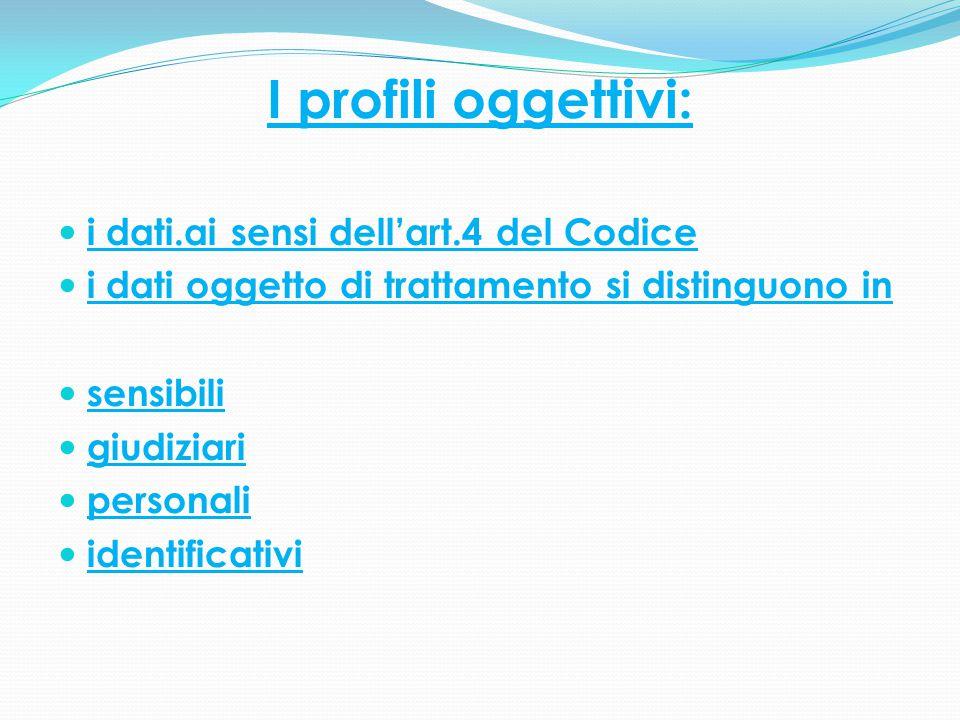 I profili oggettivi: i dati.ai sensi dell'art.4 del Codice i dati oggetto di trattamento si distinguono in sensibili giudiziari personali identificati